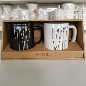 Rae Dunn HAPPY WIFE HAPPY LIFE Mug Set
